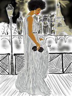 Afro Girl In Paris by Night par Nikisgroove sur Etsy