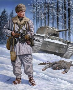 Finnish soldier armed with Suomi machine gun facing a destroyed Soviet invasion tank.