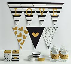 Print Your Own Party Black White and Gold Alphabet by SassyDean- Black and white striped party with pops of Gold. Print your own party. Cupcake wrappers, drink labels, Triangle Banner, and 2 Gift Box templates!