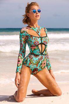 2020 Women Swimsuits Bikini Casual Beach Wear French Cut One Piece Swimsuit Pineapple Two Piece Bathing Suit Happy Swimsuits Trendy Swimwear, Swimwear Fashion, Pullover Shirt, Stuck, Surfer, Lingerie, Monokini, Women Swimsuits, One Piece Swimsuit