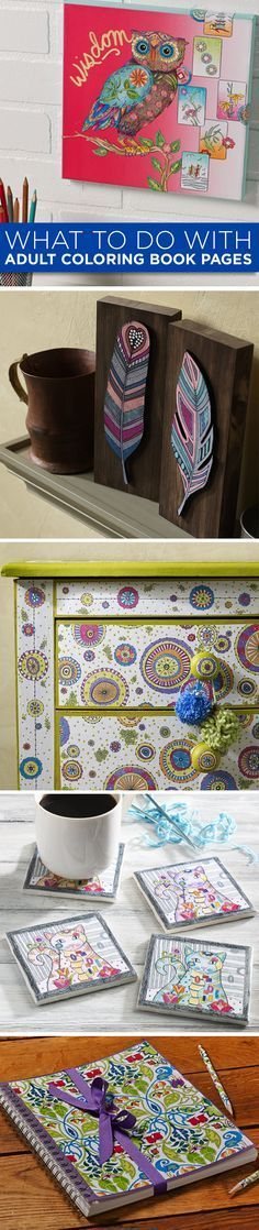 So many fun craft projects can be made from the designs of completed Adult Coloring Book Pages! From home decor, to furniture, to wall decor, and more!