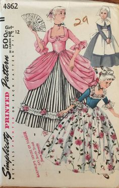 VTG 4862 Simplicity 1954 girls' colonial & by ThePatternParlor