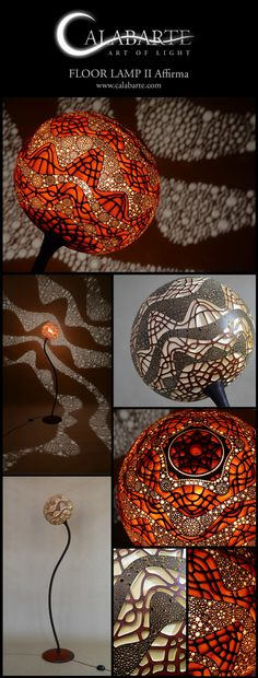 Floor lamp Affirma by Calabarte. Handcrafted lamp is made of Senegalese gourd.