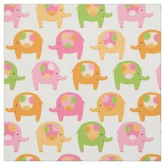 Cute Pink and Orange Elephant Baby Nursery Fabric - baby gifts child new born gift idea diy cyo special unique design