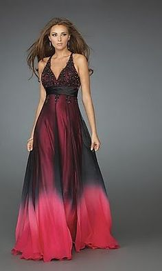 This dress starts off as one color (black) and fades in to other color (red). So it's rhythm by gradation.