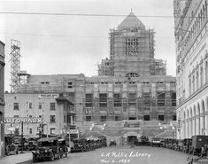 The Los Angeles Central Library under construction as seen from Hope Street (November 2,1925)