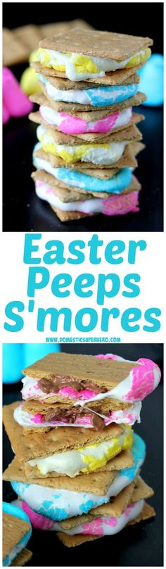 Peeps S'mores - Ooey Gooey Peeps smooshed into milk chocolate and sandwiched by graham crackers...this is the BEST Easter treat ever!!!