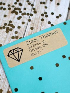 Diamond return address customer sticker label by ctdscraftsupply