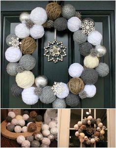 Balls of Yarn - 33 Festive Christmas Wreaths You Can Easily DIY