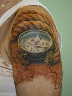 Original Rope Nautical Compass And Map Tattoos For Guys