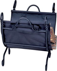 Uniflame® Black Wrought Iron Log Rack Fire Wood Holder with Black Canvas Carrier