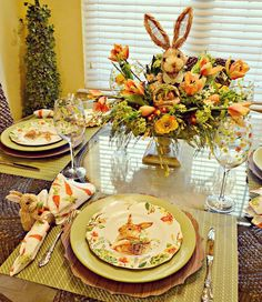 hoppy easter Elegant Easter tablescapes is the only way people are going to remember your Easter party. Check out best Easter Table decorations ideas and inspo here. Brunch Table Setting, Easter Table Settings, Easter Table Decorations, Easter Decor, Easter Ideas, Easter Centerpiece, Hoppy Easter, Easter Eggs, Easter Bunny