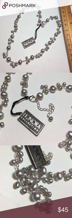 Honora Sterling silver dangle freshwater pearl Necklace with extender, gray freshwater cultured pearls, potato shape, 6-8mm, 4-5mm, link chain, lobster clasp, box and pouch included Honora Jewelry Necklaces