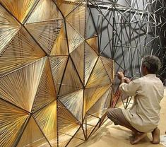 This would be beautiful as a room divider in a s mall space PRO // thread mural by Vaibhav Soparkar ➕ Deco Design, Foyer Design, Design Design, Wall Treatments, Restaurant Design, Installation Art, Art Installations, Architecture Design, French Architecture