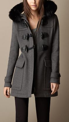Detachable Fur Trim Fitted Duffle Coat   Burberry