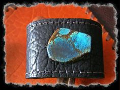 Black Leather Cuff Bracelet with a Turquoise by LivingFreeByEP, $24.00
