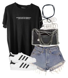 A fashion look from August 2016 featuring print tees, short jean shorts and adidas originals sneakers. Browse and shop related looks. Cute Comfy Outfits, Casual Dress Outfits, Teen Fashion Outfits, Edgy Outfits, Short Outfits, Look Fashion, Cool Outfits, Summer Outfits, Korean Fashion