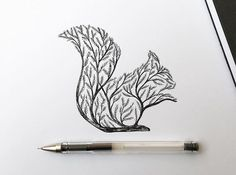 Italian artist Alfred Basha combines animals and natural elements such as trees, branches and leaves to create his beautiful drawings. More illustrations via Ideia Quente Pen Illustration, Ink Illustrations, Ink Drawings, Animal Drawings, Drawing Animals, Tattoo Sketches, Alfred Basha, Squirrel Tattoo, Stylo Art
