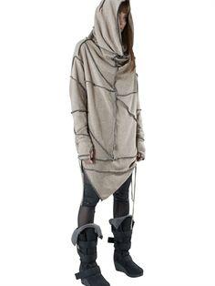 Hooded Light Wool Knit Sweater (Faelyn in winter) Post Apocalyptic Clothing, Post Apocalyptic Fashion, Dystopian Fashion, Cyberpunk Fashion, Dark Fashion, Mens Fashion, Fashion Outfits, Future Fashion, Lookbook