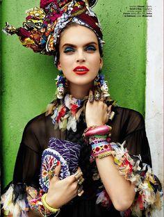 """Carmen Miranda Reloaded""   Model: Mirte Maas, Photographer: Giampaolo Sgura, Vogue Brazil, February 2013"