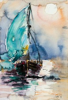 Watercolor Sea, Watercolor Landscape, Watercolor Paintings, Watercolor Artists, Watercolours, Sailboat Art, Sailboat Painting, Sailboats, Art And Illustration