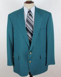 John Weitz Blazer Sport Coat 44L Turquoise Gold Buttons Rochester Big & Tall #JohnWeitz #TwoButton