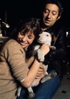 Jane Birkin and Serge Gainsbourg with their bull terrier Nana.
