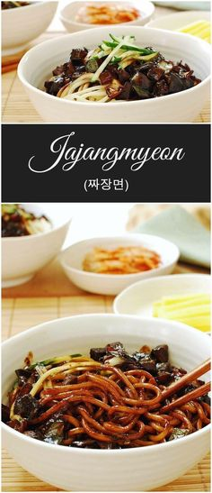 This sweet and savory noodle dish, jajangmyeon (or jjajangmyeon), is a popular Korean-Chinese noodle dish. It's a huge part of Korean food culture. In recent years, jajangmyeon has become a symbolic d (Asian Food Recipes) Chinese Noodle Dishes, Korean Dishes, Chinese Food, Black Noodles, Comida India, Asian Cooking, Cooking Kale, International Recipes, Asian Recipes
