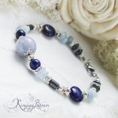 Bracelet aigue marine , lapis lazuli et hématite