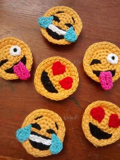 Set of 3 Crochet Emoji Magnets by StringTheoryC on Etsy - Funny and crazy crocheted smilies.Discover thousands of images about Emoji magnets - fun!Super cute and a little bonkers, these tiny and detailed little chaps will brighten your fridge, magnet Appliques Au Crochet, Crochet Motif, Crochet Flowers, Crochet Patterns, Ravelry Crochet, Crochet Gifts, Cute Crochet, Crochet Toys, Fast Crochet