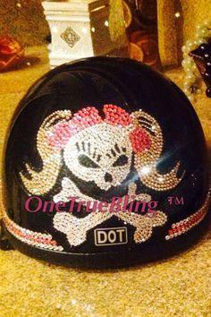 Onetruebling Bling'd helmet Girlie Skull blonde pigtails  #OneTrueBling