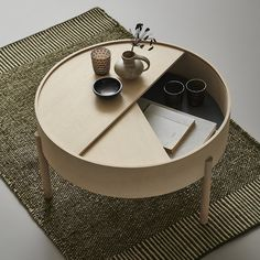 Diy Coffee Table, Coffee Table With Storage, Coffee Table Design, Small Space Coffee Table, Round Wooden Coffee Table, Circular Coffee Table, Stylish Coffee Table, Design Table, Home Furniture
