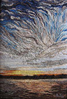 Cielo en Azules No. 2 Marta Alarcón  Collage en Lana