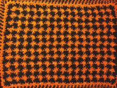 Handmade Doily or Dollhouse mini crochet Spooky Halloween Orange and Black blanket/afghan/rug