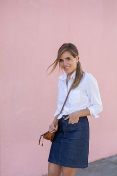 boho tan leather bag, denim and classic top