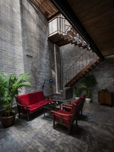 Monastery Zen House made up by natural and rustic material palette of unrefined brick, bare wood, unpainted cemboard, and ferrous iron - CAANdesign Architecture Résidentielle, Bali, Compact House, Indochine, Beautiful Interior Design, House Made, Tropical Houses, Beautiful Buildings, House Rooms