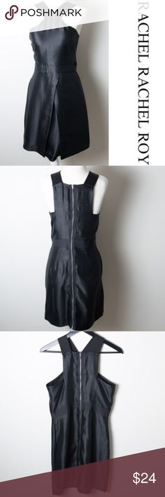 🛑 DONATING 11/5 Rachel Roy Black Dress 6 Rachel Rachel Roy black dress size 6. Straps have an elastic feel to them, zips up back from top to bottom, has pockets. Preloved condition. Was altered and then taken back out on the sides - top part of dress around bust. Does have some minor snags and you may be able to see where the alterations were released if you look very closely. Priced accordingly. Dress still has a lot of life left in it! Rachel Roy Dresses Midi
