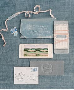 inspiration | blue, countryside inspired wedding invites | repin via: 100 layer cake