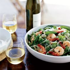 This combination of zingy herbs, cool noodles, grilled shrimp and spicy dressing makes a fabulous, easy dish. Plus, it can largely be made ahead of ti... Healthy Noodle Recipes, Heart Healthy Recipes, Spicy Recipes, Seafood Recipes, Asian Recipes, Shellfish Recipes, Ww Recipes, Spicy Shrimp, Grilled Shrimp