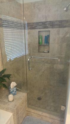ru0026r in naperville enlarged customer shower glass frameless shower door chrome fixtures porcelain tile on floors and walls natural stone accu2026