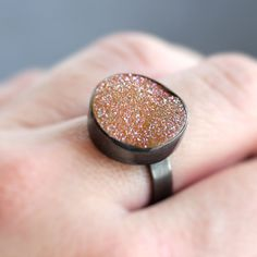 Druzy Ring, Champagne Peach Drusy Oxidized Sterling Silver Ring