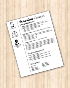 resume template the franklin resume design instant download word document docx - Word Doc Resume Template
