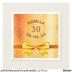 Shop birthday party bow rose gold metallic glam napkins created by Thunes. 30th Birthday Party For Her, Sweet 16 Birthday, 16th Birthday, Best Birthday Surprises, Sixteenth Birthday, Sweet Sixteen Parties, Party Tableware, Party Supplies, Metallic