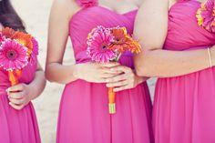 Gerbera Daisy Wedding Centerpieces | Bright-gerbera-daisy-bridesmaid-bouquets-bright-bridesmaids-dresses ...