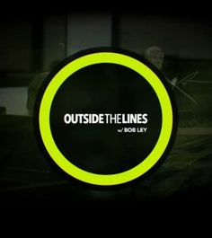 """The """"Outside the Lines"""" logo (title in white type on black, contained in a bright green ring) over a dark image of ESPN sports journalist Bob Ley in the newsroom."""