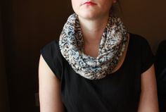 Burnout Knit Black Light Brown and white flower by slyscarves, $30.00