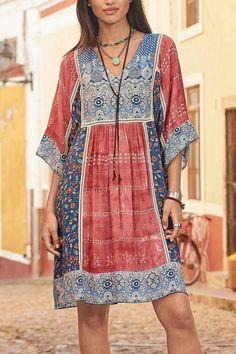 Bohemian Floral Print Tribal Holiday Midi Dress - fulday