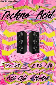 Affiche concert musical, thème: Acid Techno. Romain Cottrel ROC