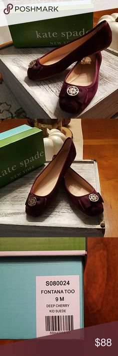 ❤❤❤HP❤❤❤BNWOT kate spade burgundy size 9 flats Beautiful, BNWOT kate spade suede slip on flats.  Leather soles.  Pretty for the holidays! kate spade Shoes Flats & Loafers