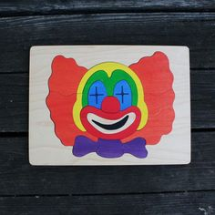 Clown Wooden Puzzle - 17 piece puzzle for kids ages 5-7. Sustainable wood and non-toxic dyes
